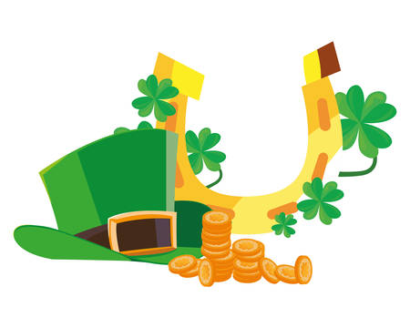 hat coins horseshoe st patricks day vector illustration