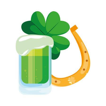 green beer horseshoe happy st patricks day vector illustration Illustration