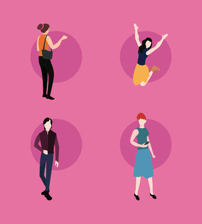 man and woman different poses activities vector illustration
