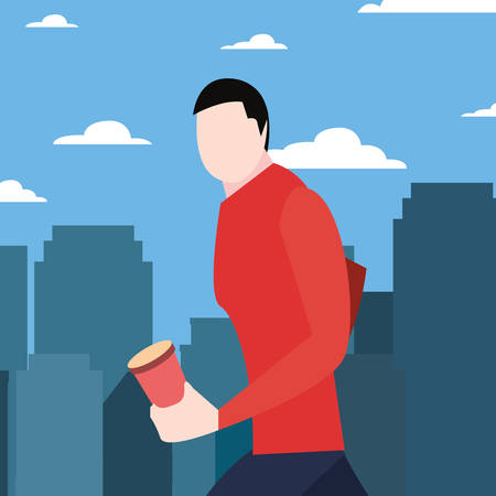 man walking with disposable cup in hand vector illustration Illustration