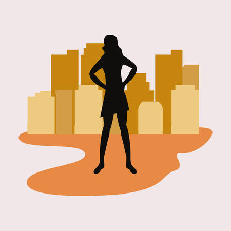 woman silhouette in the city street vector illustration