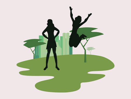 women silhouette in the park city vector illustration