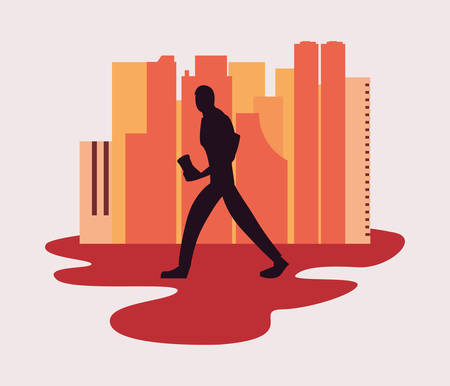 man silhouette walking with disposable cup in hand vector illustration Stock Vector - 124882281