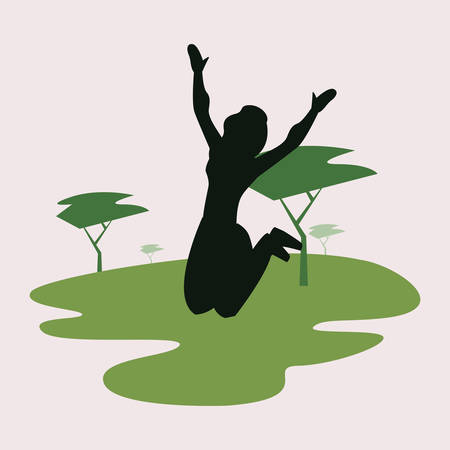 woman silhouette jumping in the park city vector illustration  イラスト・ベクター素材