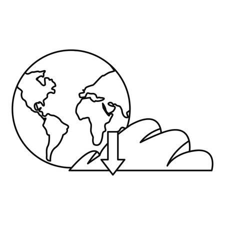 world cloud computing download online education school vector illustration