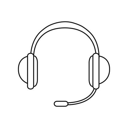 headphones microphone accessory on white background vector illustration