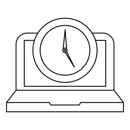 laptop and clock time online education school vector illustration
