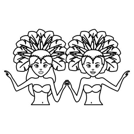 beautiful brazilian dancers characters vector illustration design Illustration