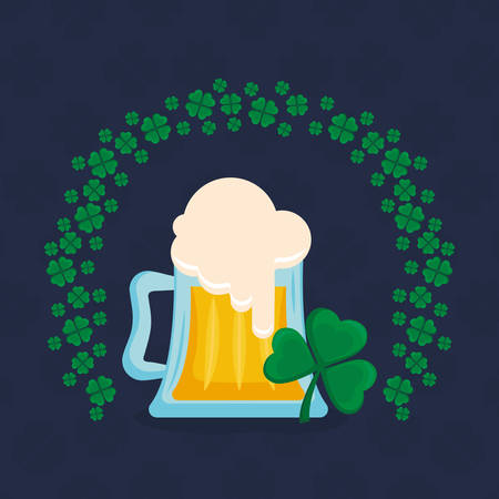 beer jar with clover leaf vector illustration design