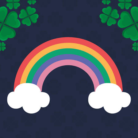 cute rainbow weather with clover icon vector illustration design