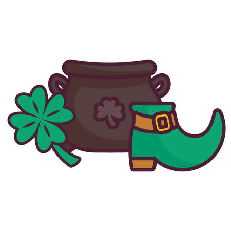 st patricks day cauldron with clover and boots vector illustration design