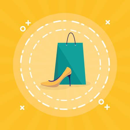 shopping bag with heel shoe vector illustration design Illustration