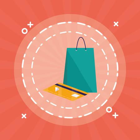 shopping bag with credit card vector illustration design