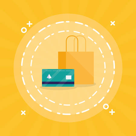 shopping bag with credit card vector illustration design Stock Vector - 124841385