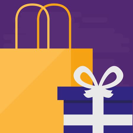 shopping bag with giftbox vector illustration design Stock Vector - 124841399