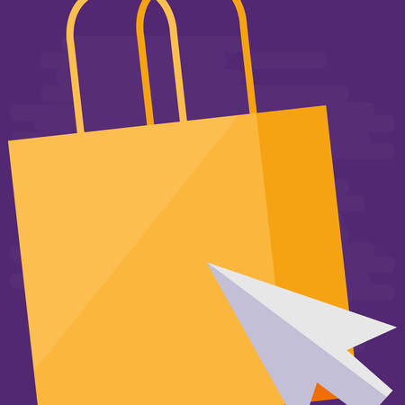 shopping bag with mouse arrow vector illustration design Stock Vector - 124841406
