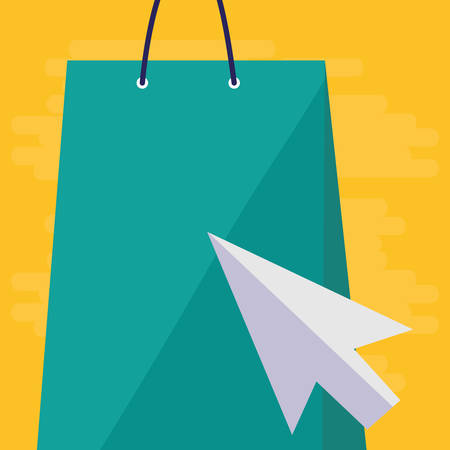 shopping bag with mouse arrow vector illustration design Illustration