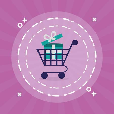 supermarket shopping cart with gift vector illustration design