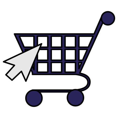 supermarket shopping cart with mouse arrow vector illustration design