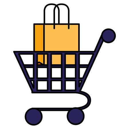 supermarket shopping cart and bag vector illustration design