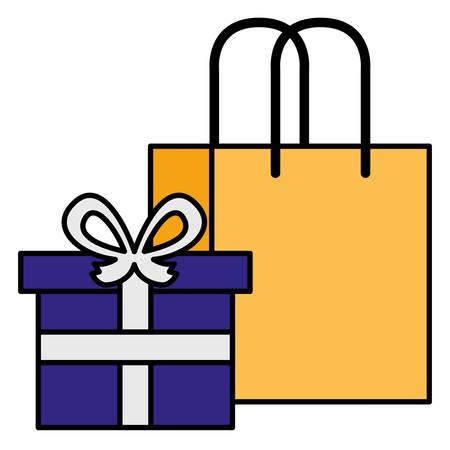 shopping bag with giftbox vector illustration design Illustration