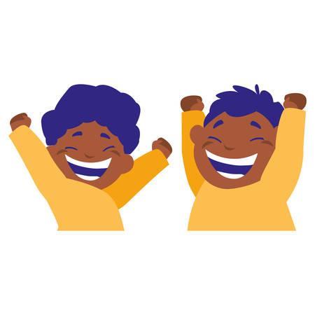 happy black boys celebrating vector illustration design Ilustração Vetorial