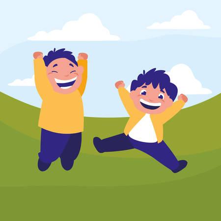 happy fat boys celebrating in the camp vector illustration design