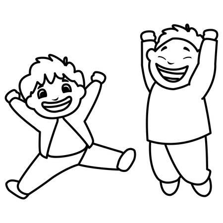 happy fat boys celebrating vector illustration design