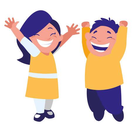 Felices los niños gordos celebrando personajes, diseño de ilustraciones vectoriales