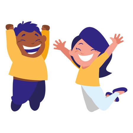 happy kids couple celebrating interracial characters vector illustration design Ilustración de vector