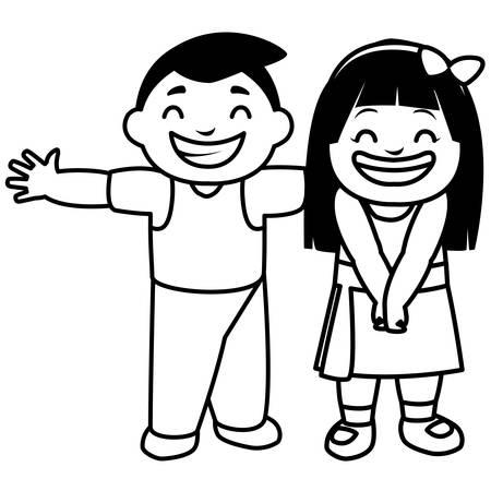 happy fat kids celebrating characters vector illustration design