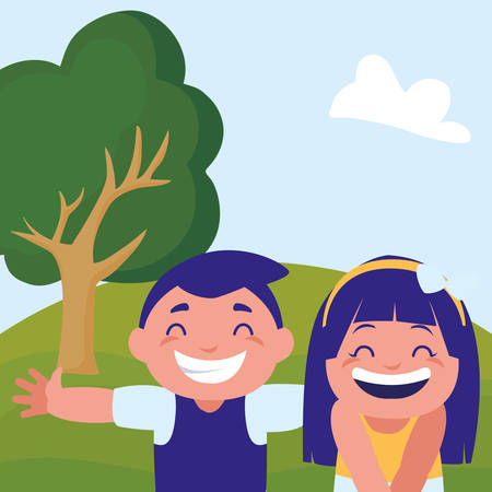 happy fat kids couple celebrating in the camp vector illustration design