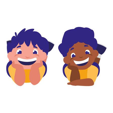 cute happy boys interracial characters vector illustration design