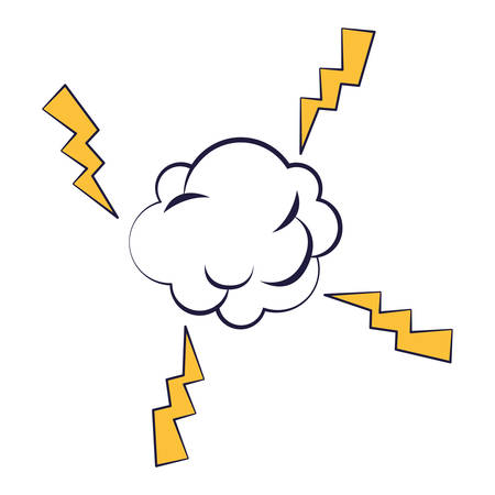 cloud expression with power rays pop art style vector illustration design