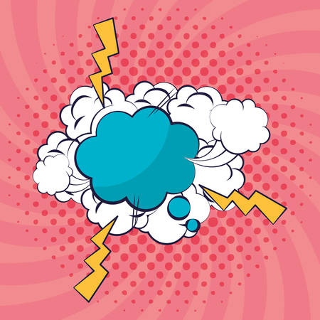 dream cloud with smoke pop art style vector illustration design Ilustração