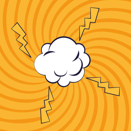 cloud expression with power rays pop art style vector illustration design Ilustracje wektorowe