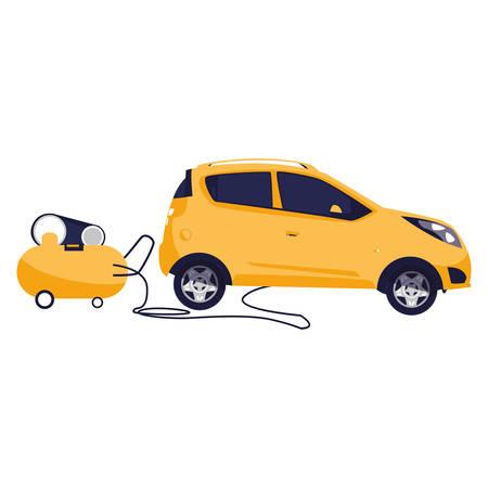 veicolo auto con compressore in officina meccanica illustrazione vettoriale design