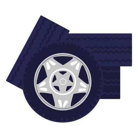 pile tires car wheels vector illustration design Çizim