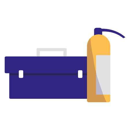 tools box mechanic with extinguisher vector illustration design