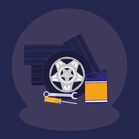 pile tires car wheels with oil gallon vector illustration design