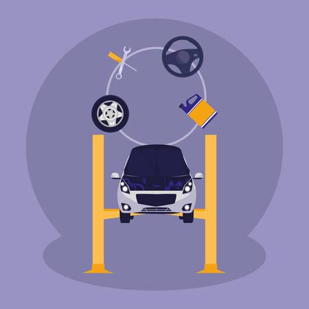 auto voertuig in platform mechanische werkplaats vector illustratie ontwerp Vector Illustratie
