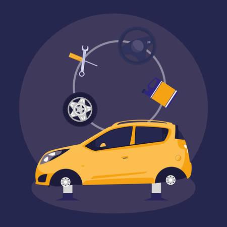 car vehicle without tires in mechanical workshop vector illustration design