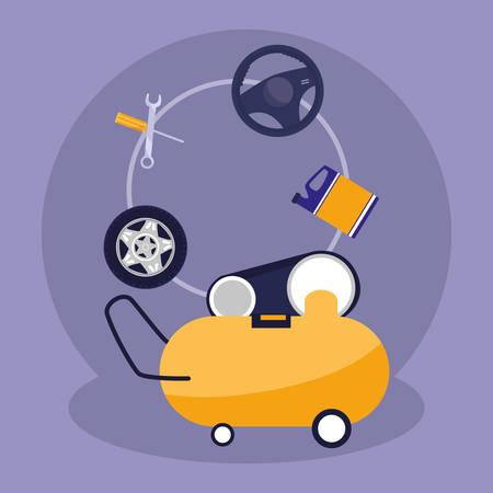 compressor air mechanic icon vector illustration design Vettoriali