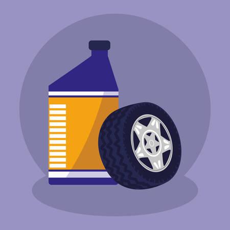tire car wheel with oil gallon vector illustration design