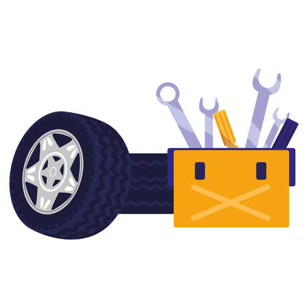 tools box mechanic with wrench keys and car tires vector illustration design Ilustrace