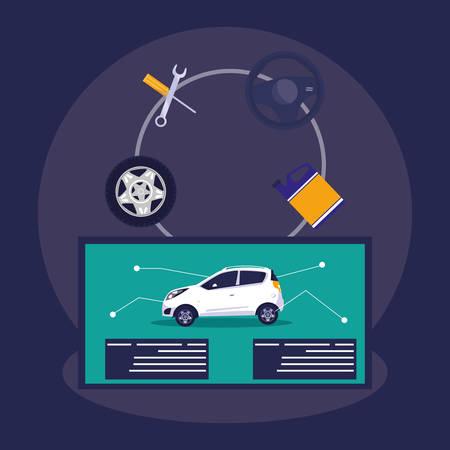 instructional poster of car parts vector illustration design