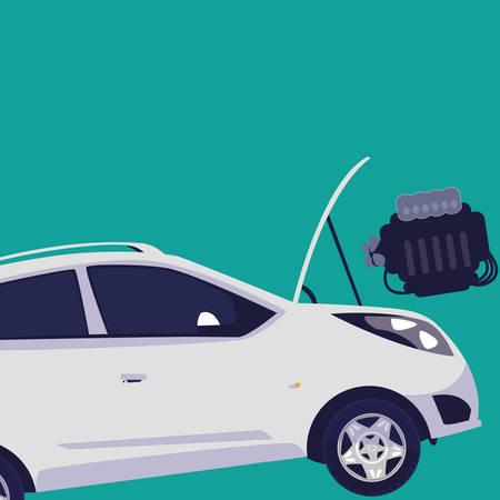 car vehicle with engine out in mechanical workshop vector illustration design Vektoros illusztráció
