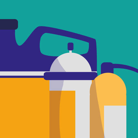 extinguisher fire with oil gallon vector illustration design