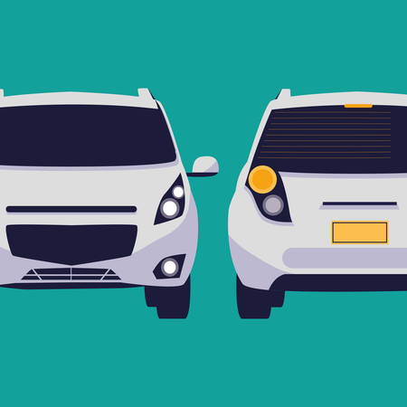 cars vehicles sedan front and back vector illustration design