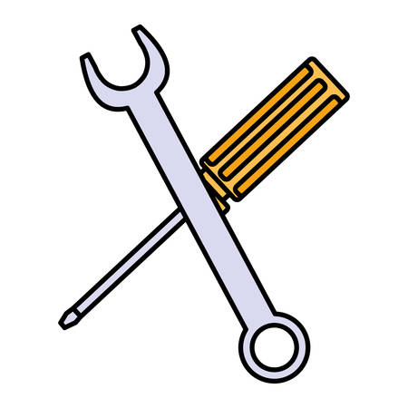wrench key and screwdriver tools vector illustration design